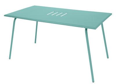 Table Monceau 146 x 80 cm 6 personnes Fermob bleu lagune en métal