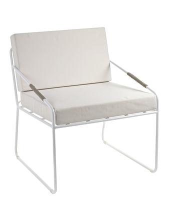 Hills Gepolsterter Sessel / Stoff & Metall - Serax - Weiß,Ecru,Naturleder