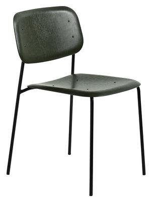 Chaise empilable Soft Edge 10 Bois Métal Hay noir,vert en bois