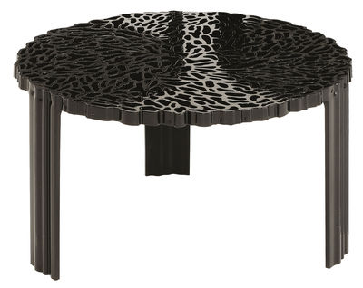 Furniture - Coffee tables - T-Table Basso Coffee table - H 28 cm by Kartell - Opaque black - PMMA