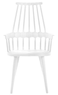 Mobilier - Fauteuil Comback / Polycarbonate & pieds bois - Kartell - Blanc / Pieds blancs - Frêne, Polycarbonate