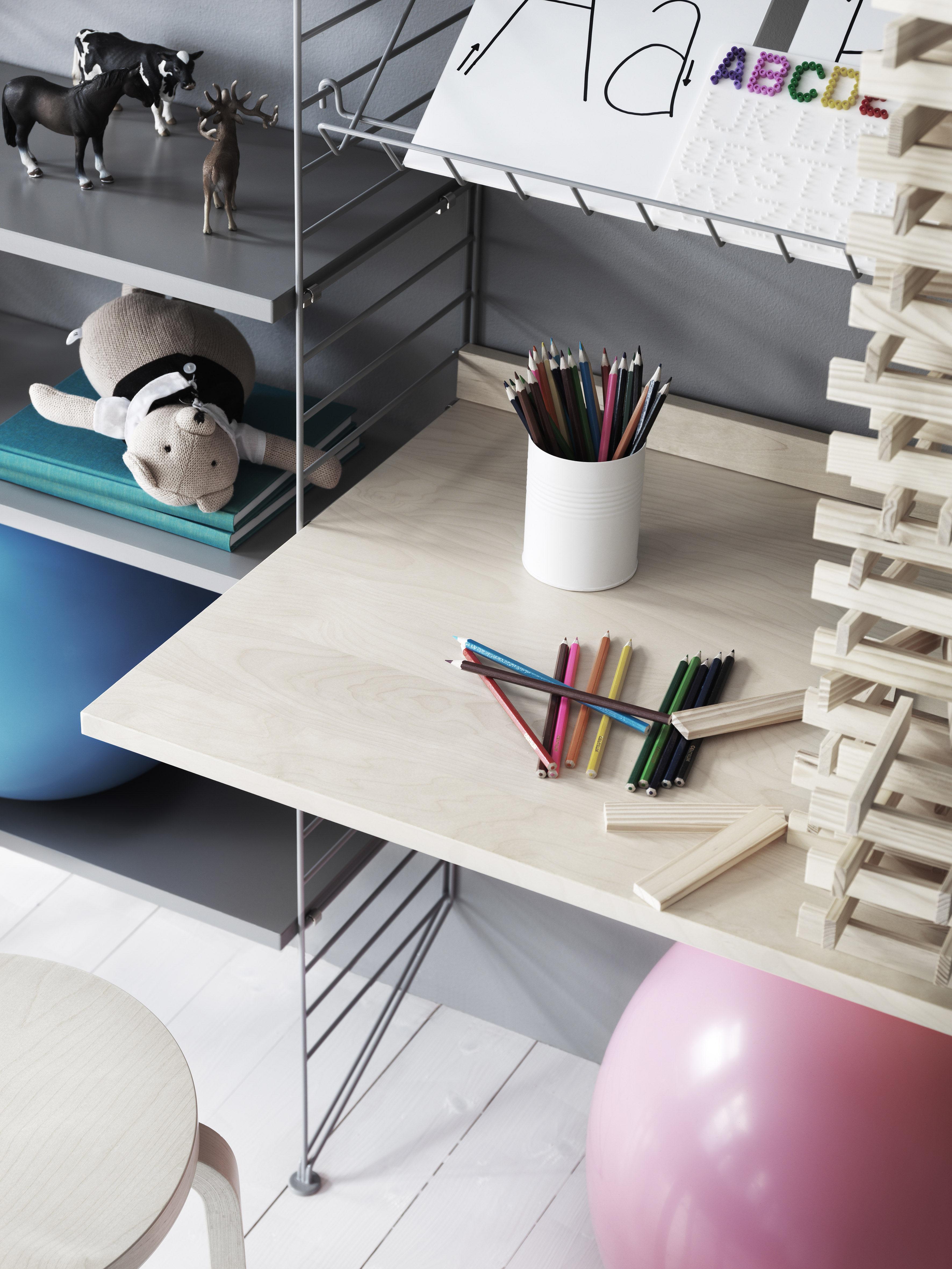 tablette string system bureau l 78 x p 58 cm noyer string furniture. Black Bedroom Furniture Sets. Home Design Ideas