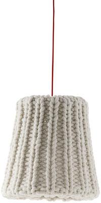 Luminaire - Suspensions - Suspension Granny Large / Ø 37,5 cm - Casamania - Blanc-écru / Câble rouge - Laine