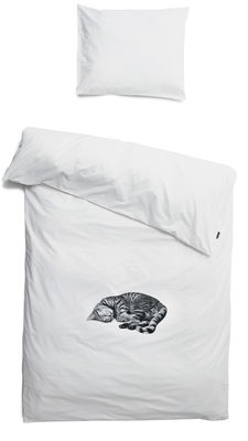 Déco - Pour les enfants - Parure de lit 1 personne Ollie / 140 x 200 cm - Snurk - Chat gris - Percale de coton