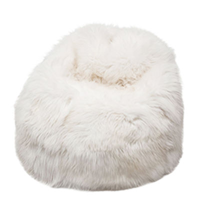 pouf moumoute xl 80 cm peau de mouton v ritable poils courts blanc fab design made. Black Bedroom Furniture Sets. Home Design Ideas