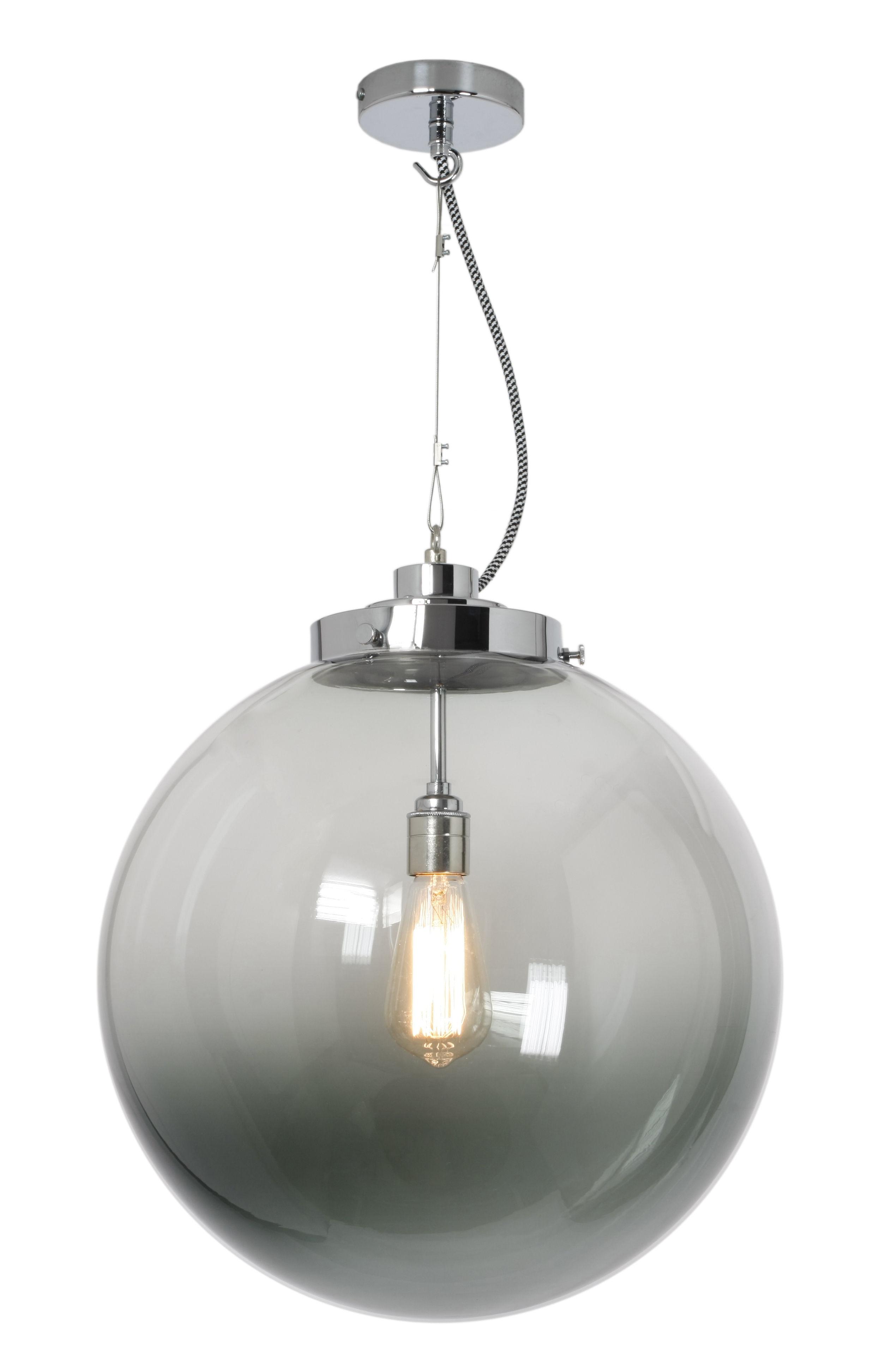 suspension globe large 40 cm verre souffl verre anthracite chrom original btc. Black Bedroom Furniture Sets. Home Design Ideas