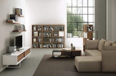 meuble tv bridge l 198 cm blanc noyer pop up home. Black Bedroom Furniture Sets. Home Design Ideas
