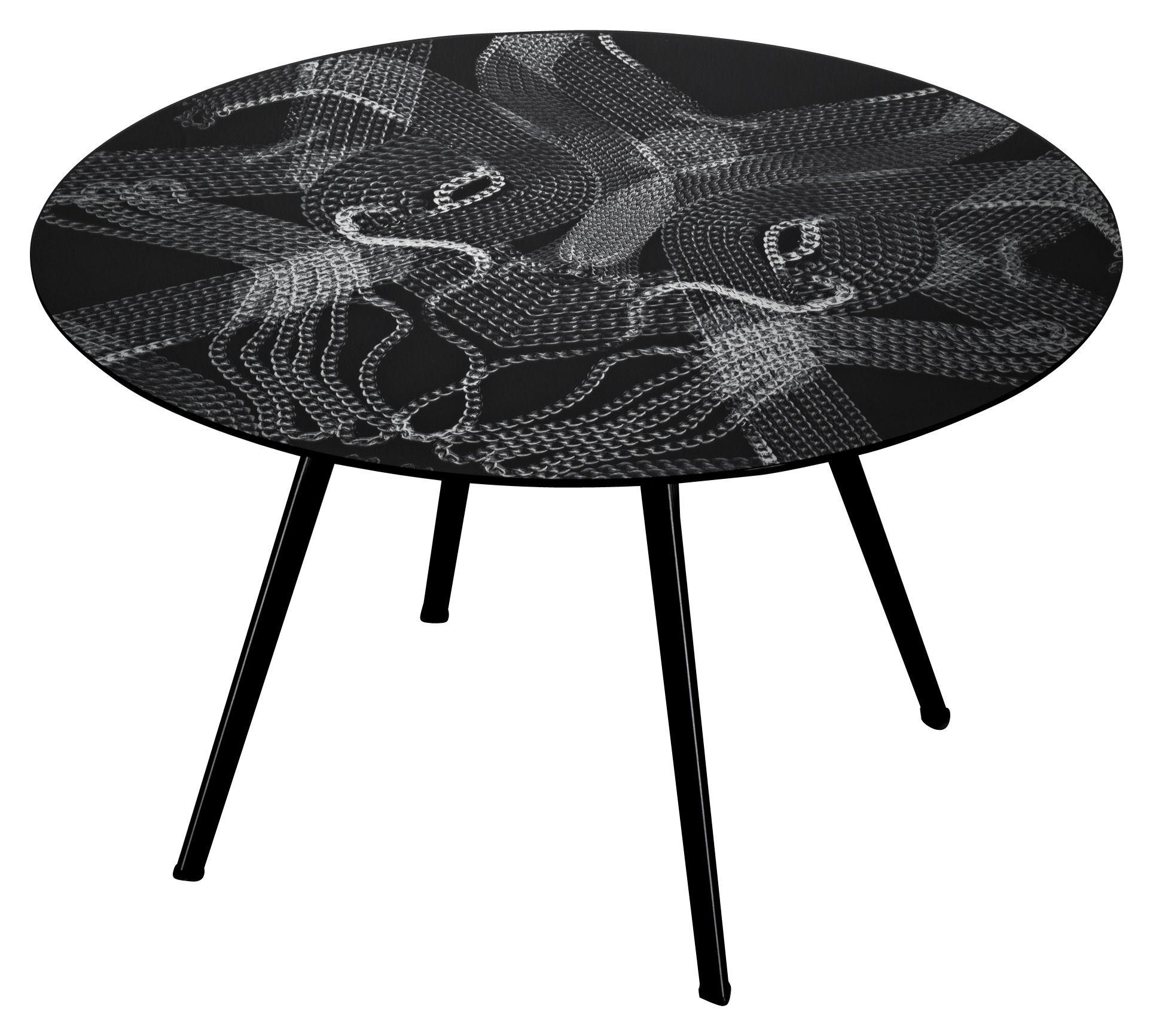 Table pylon verre avec motifs cha nes 130 cm cha nes for Table en chaine