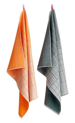 Torchon Cold Forest / Set de 2 - Hay orange,gris en tissu