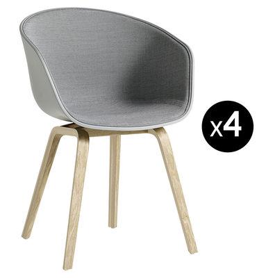 Mobilier - Chaises, fauteuils de salle à manger - Fauteuil rembourré About a chair AAC22 / Lot de 4  : 3 achetés + 1 OFFERT - Hay - Gris ciment & tissu gris / Pieds chêne - Chêne savonné, Mousse, Polypropylène, Tissu