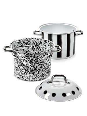 Cuisine - Casseroles, poêles, plats... - Cuiseur à pâtes Pasta Pasta / Avec passoire - 8 L - Serax - Noir & blanc - Acier émaillé