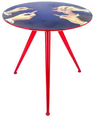 - Table basse Toiletpaper - Rouge à lèvre / Ø 70 x H 64 cm - Seletti - Rouge à lèvre / Pied rouge - Bois peint