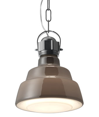 Luminaire - Suspensions - Suspension Glas Ø 22 cm - Diesel with Foscarini - Marron - Métal chromé, Verre soufflé