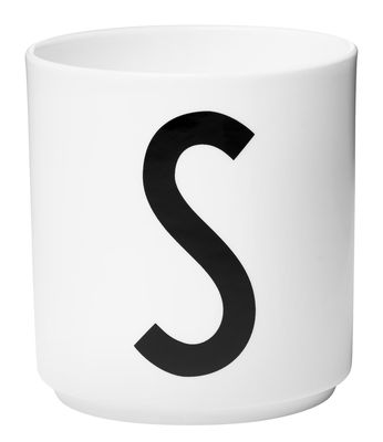 Mug Arne Jacobsen / Porcelaine - Lettre S - Design Letters blanc en céramique