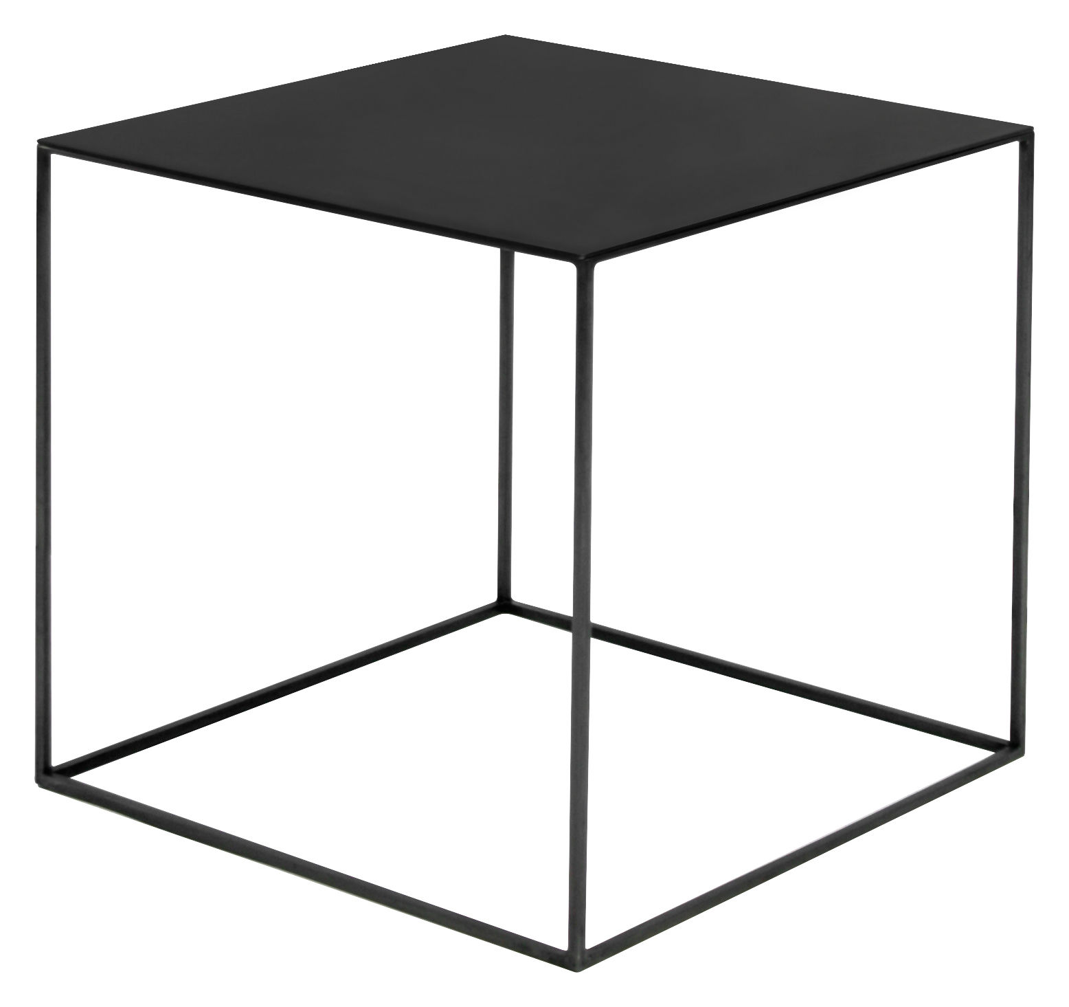 Slim irony coffee table black steel by zeus for Table basse scandinave noire