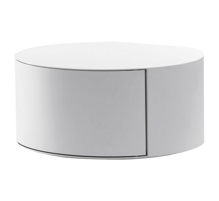 Table basse Bon-Bon meuble de rangement Laqué blanc / Ouverture ...