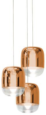 Luminaire - Suspensions - Suspension Gong Mini LED / Ø 13 x H 16 cm - Set de 3 - Prandina - Cuivre / Bas transparent - Verre