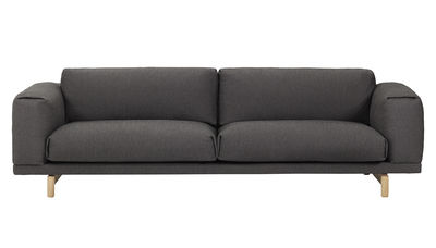 Rest Sofa / 3-Sitzer - mit Baumwoll-Bezug - Muuto - Dunkelgrau