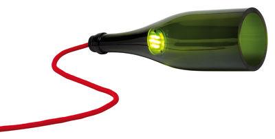 Luminaire - Lampes de table - Lampe de table Bouteille Torche / LED - L'Atelier du Vin - Vert / Câble rouge - Verre