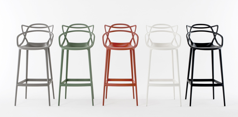 masters bar chair h 65 cm metallized titanium by kartell. Black Bedroom Furniture Sets. Home Design Ideas