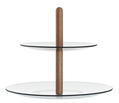 Serviteur Castagna / Verre & bois - Leonardo teck,gris fumé en verre