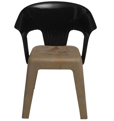 Furniture - Chairs - Madeira Armchair by Skitsch - Black back - Natural wood seat - Polycarbonate, Polypropylene, Wood fibres