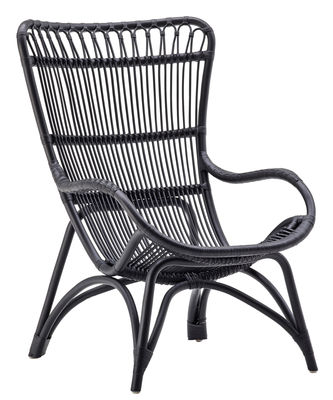 Chaise Monet - Sika Design noir en rotin & fibres