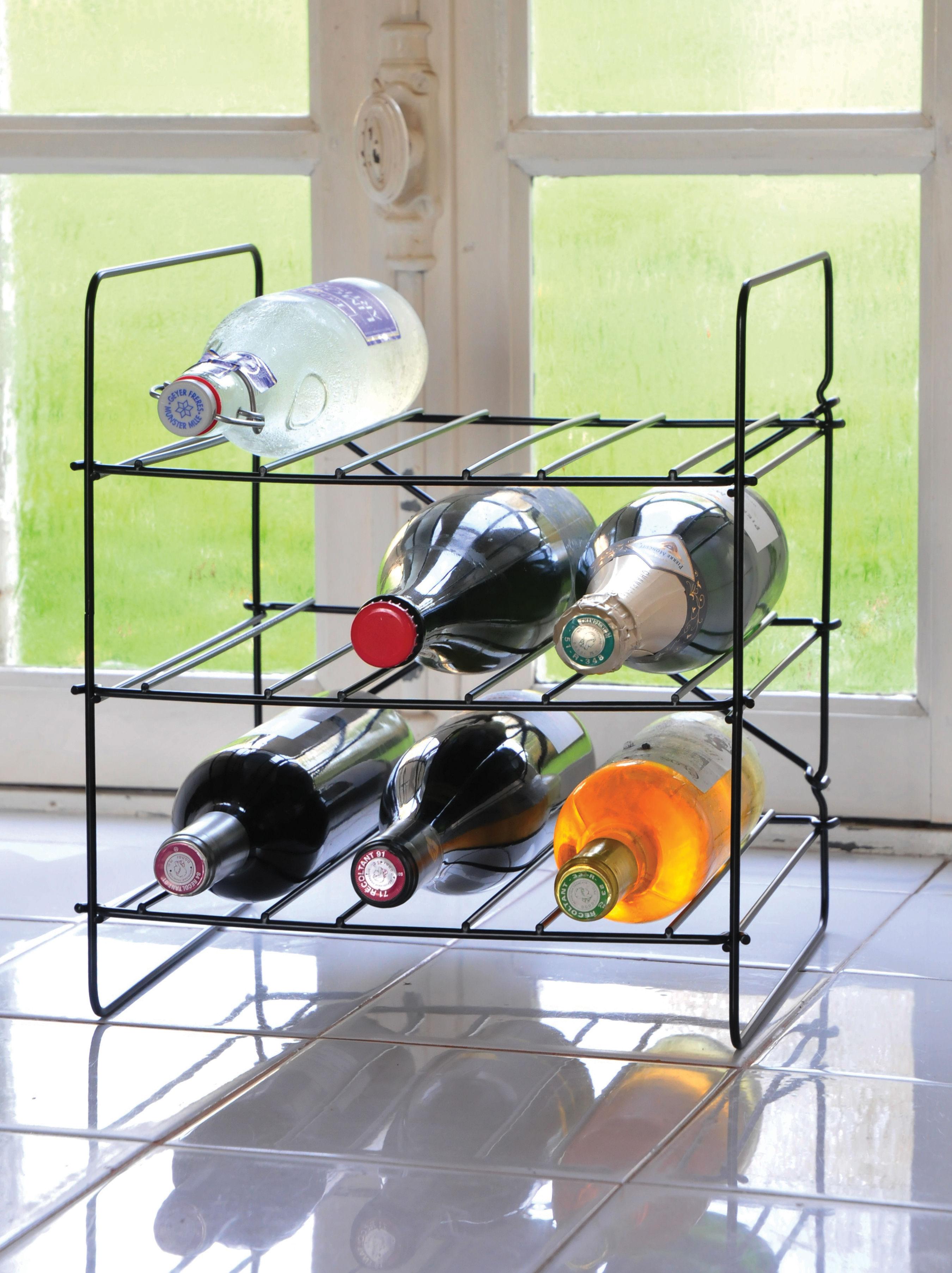 casier bouteilles city rack 9 bouteilles m tal noir. Black Bedroom Furniture Sets. Home Design Ideas