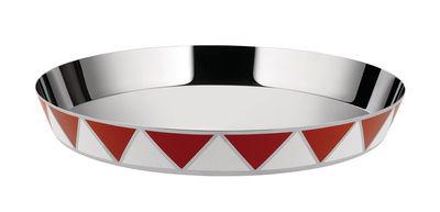 Plateau Circus / Ø 39 cm - Métal - Alessi blanc,rouge en métal