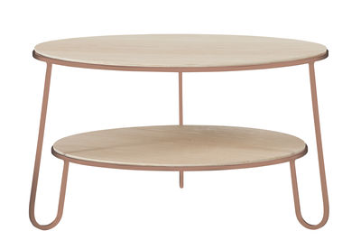 Table basse Eugénie Small / Ø 70 - Chêne - Hartô bois naturel,rose pomelo en métal