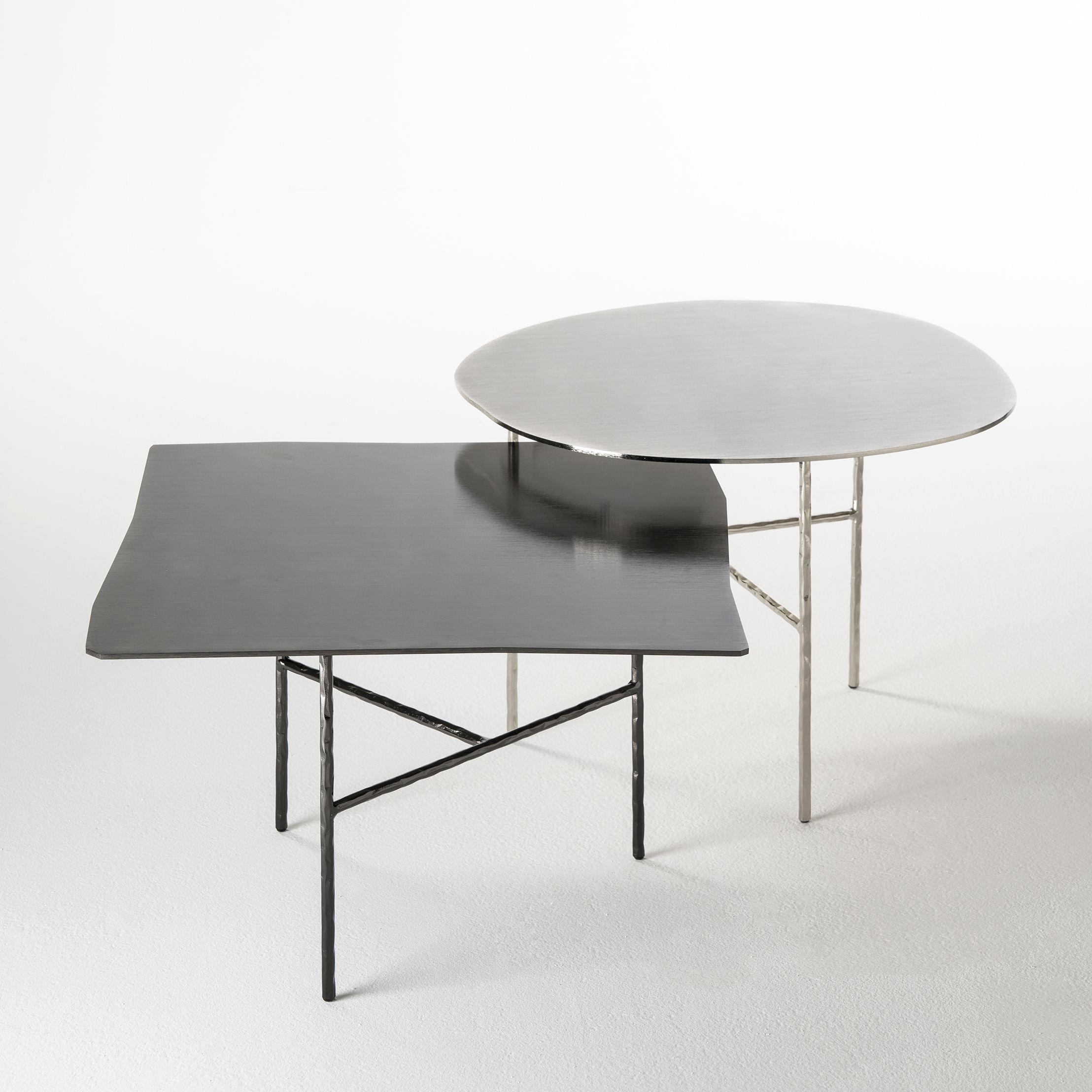 Round 3 Round Coffee Table Made Of Metal Cm ø80x23h: / Ø 52 X H 38 Cm Nickel By