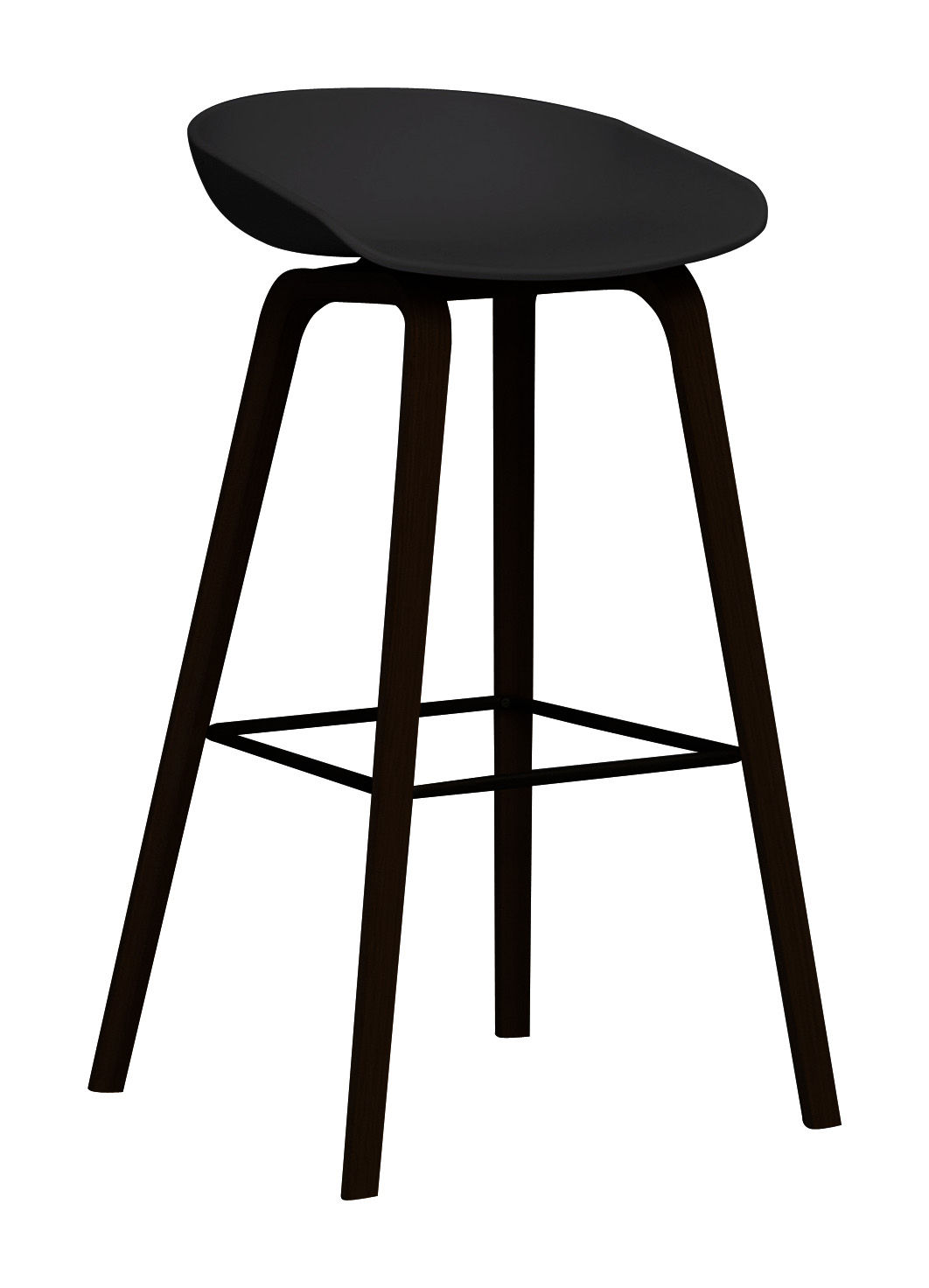 tabouret de bar about a stool aas 32 h 75 cm plastique pieds bois noir pieds noirs hay. Black Bedroom Furniture Sets. Home Design Ideas