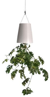 Dekoration - Spaßig und ausgefallen - Sky Small Hänge-Blumenkasten über Kopf hängender Blumentopf - H 14 cm - Boskke - Weiß - H 14 cm - Keramik, Stahl