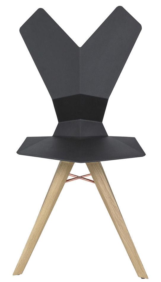 Chaise y assise plastique pieds bois coque noire for Chaise pied bois assise plastique