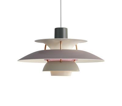 Leuchten - Pendelleuchten - PH5Mini Pendelleuchte / Ø 30 cm - Louis Poulsen - Grau / Stäbe bronzefarben - Aluminium