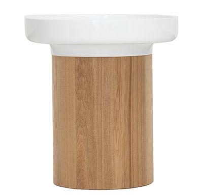 Mobilier - Tables basses - Table d'appoint Apu 2 / Vide-poches - Ø 36 cm - Zeitraum - Ø 36 cm - Blanc / Base chêne naturel - Céramique, Chêne massif
