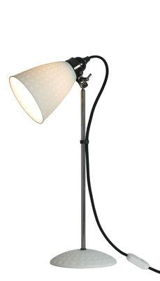 Luminaire - Lampes de table - Lampe de table Hector 21 / H 46 cm - Porcelaine avec motifs carrés - Original BTC - Blanc motifs carrés / Métal / Câble noir - Métal chromé, Porcelaine