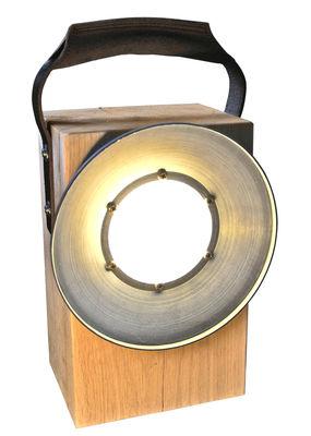 Lampe sans fil Block / LED - Chêne & poignée cuir - Bloom! Marron,Chêne naturel en Bois