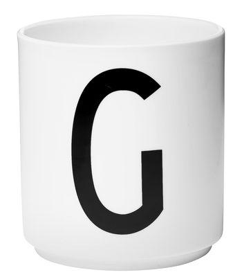 Mug Arne Jacobsen / Porcelaine - Lettre G - Design Letters blanc en céramique