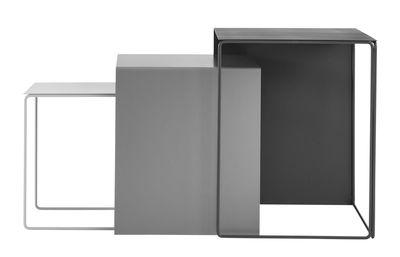 Mobilier - Tables basses - Tables gigognes Cluster / Set de  3 - Ferm Living - Gris clair / Gris / Anthracite - Métal laqué