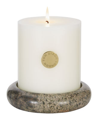 Bougie parfumée Stone Pillar / Set bougie + bougeoir marbre - Tom Dixon vert en pierre