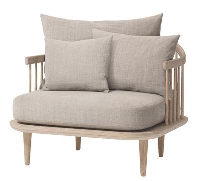 FLY Gepolsterter Sessel / B 87 cm - &tradition - Hellgrau,Eiche gebleicht