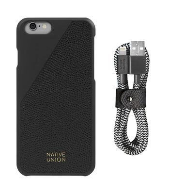 Accessoires - Objets connectés, accessoires high tech - Coque Iphone 6/6s Clic Leather / Cuir + câble de charge Lightning - Native Union - Noir / Câble noir & blanc - Cuir pleine fleur, Plastique, Tissu