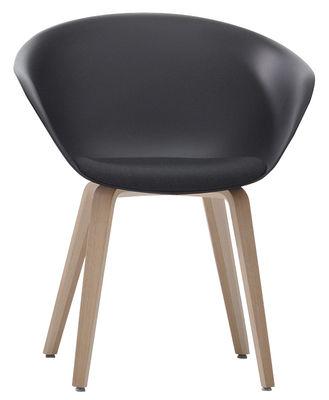 Chaise Duna 02 / Pieds bois - Coussin d´assise - Arper gris,chêne blanchi en matière plastique