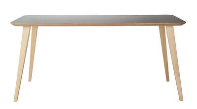 Tendances - Espace Repas - Table Bob / 180 x 90 cm - Bois et HPL - Ondarreta - Gris / Pieds bois - Hêtre, Multiplis de bouleau, Stratifié