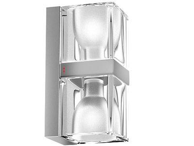 Applique Cubetto Crystal Glass double Fabbian transparent en verre
