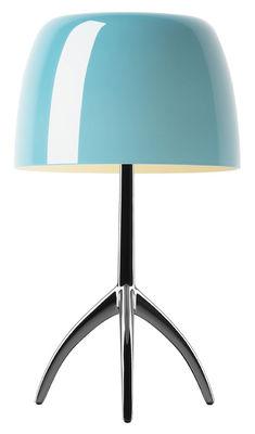 Lampe de table Lumière Grande / Variateur - H 45 cm - Foscarini turquoise,noir chromé en métal