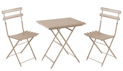 Set table & chaises Arc en Ciel / Table 70x50 cm + 2 chaises - Emu tourterelle en métal