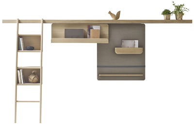 Mobilier - Meubles de rangement - Rangement mural Zutik / 3 accessoires modulables -  L 300 cm - Alki - Bois / Marron chiné - Chêne massif, Tissu