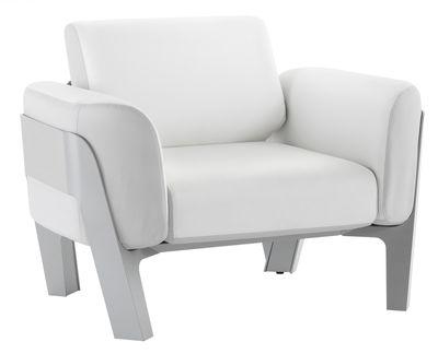 Mobilier - Fauteuils - Fauteuil rembourré Bienvenue / Vinyle - EGO Paris - Coussins blanc & gris Clair / Structure gris argent - Aluminium laqué, Mousse, Vinyle marin
